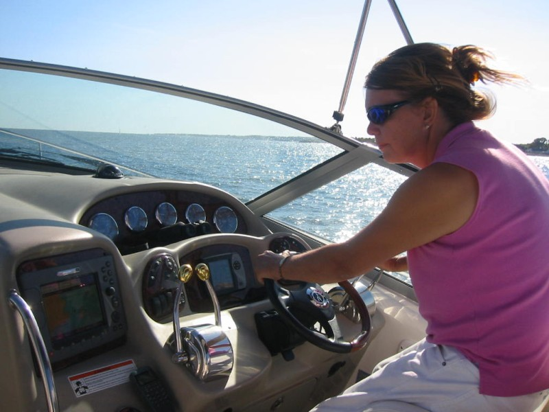 Me at the helm (concentrating hard)