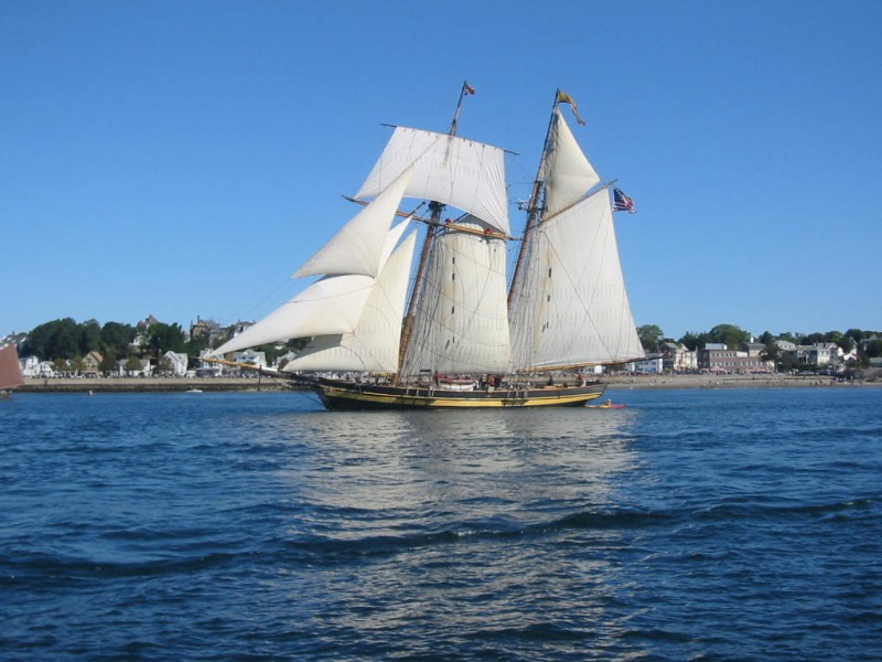 A schooner passes by
