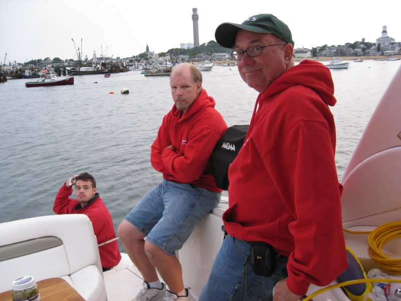Nick, Scott Lauder, and George Varney in Ptown Harbor